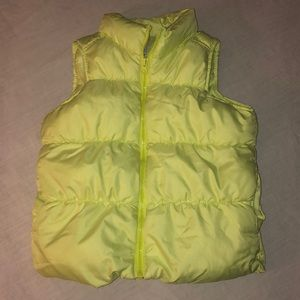 ❣️5/$15❣️OLD NAVY girl's yellow green puffer vest